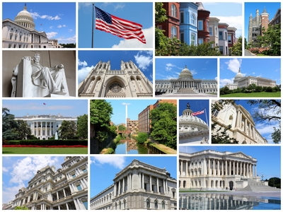 Photo collage from Washington DC, United States. Collage includes major landmarks like National Capitol, Georgetown University and Lincoln Memorial.